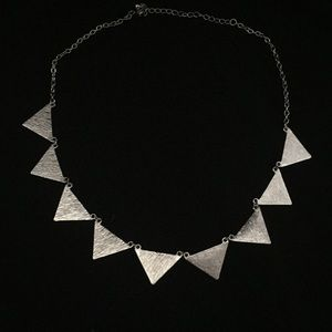 Jewelry - textured silver triangles necklace